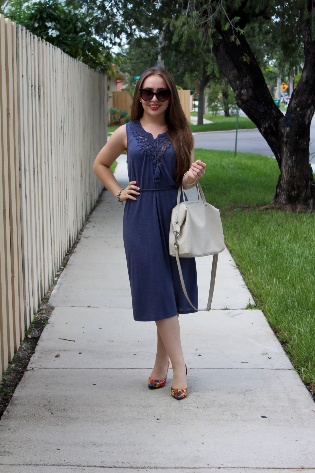 mid navy dress with crochet details